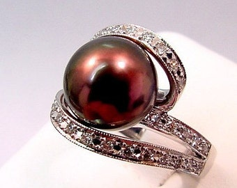 Cultured Pearl 11mm white gold diamond ring .51 carats 0203 MMM