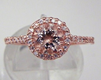 14K Rose gold Diamond Halo ring set with 6mm Round Natural Peach Salmon Morganite 1.00 carats MMM