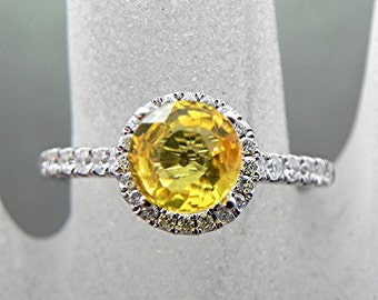 AAA Canary Yellow Sapphire 6.50mm (1.47ct) in 14K white gold Halo ring with .30 carats of diamonds 0970 MMMM