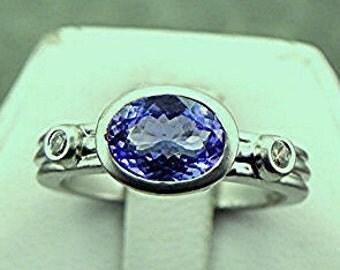 Natural Tanzanite diamond ring   8x6mm  1.07 Carats   18K White gold ring 0667f MMMM