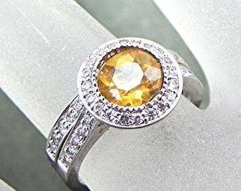 AAA Citrine   7.05mm  1.32 Carats   14K white gold bridal set. B007 0223