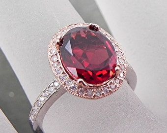 AAAA Natural Pyrope Garnet 2.79 Ct 10 X 8mm. in a 14k White/Rose gold ring with diamonds (.30ct) Ring 0961