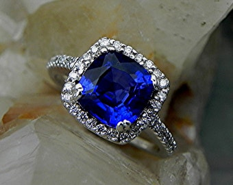 AAAA Manmade Blue Sapphire Cushion cut   8x8mm  2.50 Carats   in 14K white gold Halo Bridal set with ..45 carats of diamonds HB88