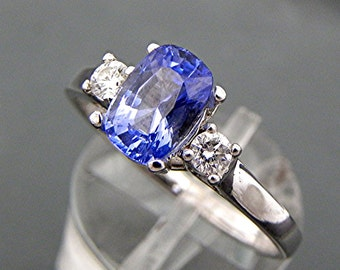 AAAA Ceylon Blue Sapphire Cushion   8x5mm  1.55 Carats   with .18 cts of Diamonds 14K white gold engagement ring 1379