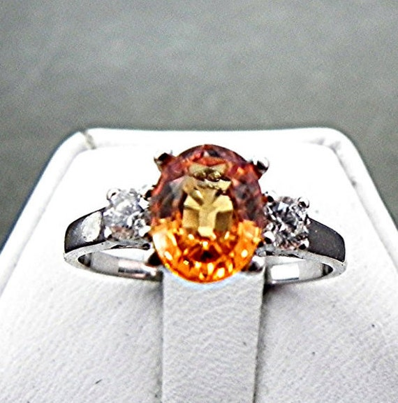 Orange Sapphire 8x6mm 1.76 ct with .14 cts of Diamonds 14K white gold ring 1058 C863
