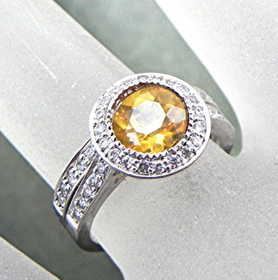 AAA Citrine   7.05mm  1.32 Carats   14K white gold bridal set. B007 0223