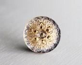 Gold With A Hint of Blue 18mm Czech Glass Button Metal Shank