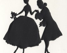 German Rococo Couple Paper Silhouette - Matte Black Marie Antoinette Couple - Die Cut Vintage Style Costume Party