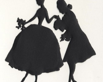 German Rococo Couple Paper Silhouette - Matte Black Marie Antoinette Couple - Die Cut Vintage Style Costume Party