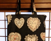 Granny Chic Lace Heart Doily Tight 'N' Tidy Tote Bag Reusable Folding Shopping Bag