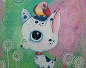 Original Painting Big Head Chihuahua 8 x 10 acrylic mixed media oddimagination - Denise Baldwin