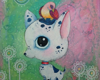 Original Painting Big Head Chihuahua 8 x 10 acrylic mixed media oddimagination - Denise Baldwin