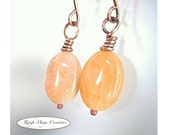 Pastel Peach Earrings Botswana Agate Gemstone Copper Wire Wrapped Stones