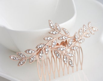 Rose Gold Leaf Bridal Hair Comb Rhinestone  Crystal Leaves Rhinestone Wedding Hair Accessory Comb NEVE CLASSIC