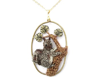 Squirrel tree pendant hanging on a gold filled chain - squirrel jewelry, sculpture pendant, woodland pendant, tree pendant