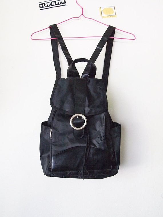 BUCKLE // Vintage 90s Mini Backpack Purse Lightweight Black