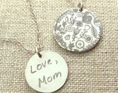 Personalized Gift - Custom Handwriting Jewelry - Personalized - ACTUAL Handwriting Necklace - Gift - Handwritten Jewelry - Memorial Jewelry