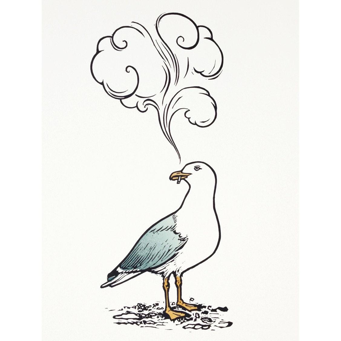 linocut print smoking seagull