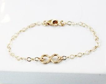 Gold Infinity Bracelet, Delicate Gold Infinity Bracelet, Dainty Gold Bracelet, Bridesmaids Bracelet, Infinity Jewelry, Bridesmaids Gift