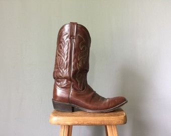 Vintage DAN POST Boots •Mens Classic Cowboy Boots • Western Americana Dark Brown Leather Sole Bootstraps Stitching 1980s •SIze 12 D Guys