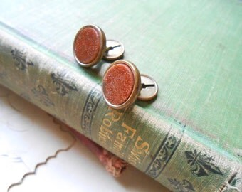 goldstone and brass antique cuff links cufflinks repair condition - vintage costume jewelry