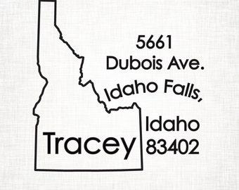 Idaho Personalized Return Address State Stamp
