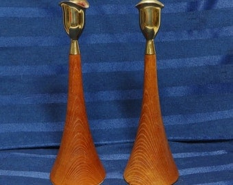 Mid Century Candle Holders/ Brass and Wood/ Danish Modern Style