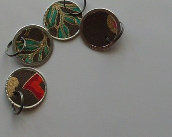 altered book objects - set of 4 - ring key tags - chocolate with gold accents