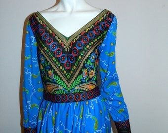 vintage 1970s gown / blue PAISLEY maxi dress / handkerchief hem XS - S