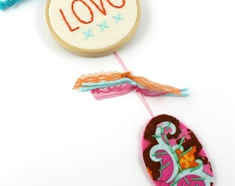 Dreamcatcher Love Embroidery Words Mini Wall Hanging Nursery Art Feather