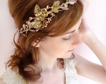 bridal hair piece, gold bridal headpiece, bridal headband, Swarovski, gold headband, wedding hair piece, bridal headpiece, #36