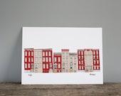 Brooklyn Townhouses Illustration Print - New York Wall Art A4