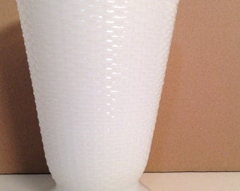 vintage milk glass vase - basket weave milkglass vase