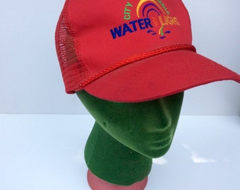 VTG Red Otto Hat // City of Columbia // Water Light // Hipster // Trucker Hat // Otto Cap