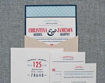 Custom Pocket Wedding Invitations in Nude and Navy Blue | Christina & Jameson