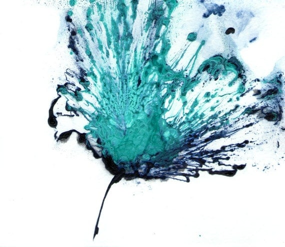 Items Similar To Teal Purple Abstract Flowers Wall Decor: Flower Painting Blue Artwork Original Art Abstract Floral