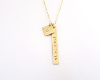 Vertical Bar Necklace, Skinny Gold Bar Necklace, Initial Necklace, Gold Necklace, Rose Gold Bar, Silver Nameplate Necklace, Initial and Date