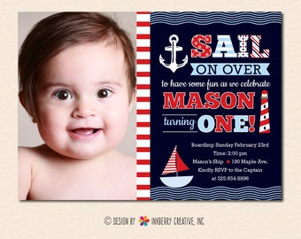 Sail Away Nautical Theme Birthday Party Invitation (Navy/Red) (Digital File - Printed Cards Also Available)