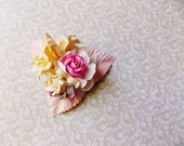 Lilac Cream Blush Pink Ivory Roses Lilies Handmade Millinery Corsage baby kids hair bow headband ooak clip supply Vintage Style Flowers