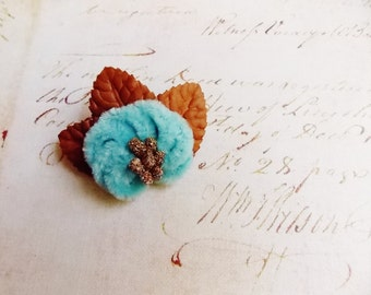 Turquoise Gold Russet Millinery Flower Brooch ~Velveteen Chenille Rosette pin, glass beaded stamens, velvet wedding accessory Victorian trim