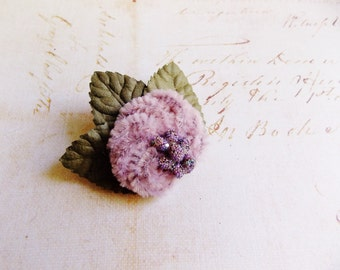 Dusky Rose Moss Lavender Millinery Flower Brooch~Velveteen Chenille Rosette pin glass beaded stamens velvet wedding accessory Victorian trim
