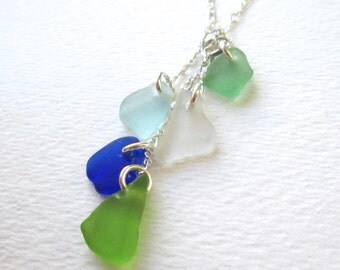"Sterling Silver Cascade Genuine Sea Glass Necklace on Adjustable 18"" Chain"