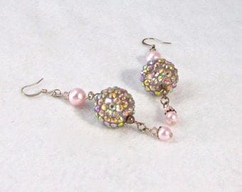 Disco Fever, Pave Style Crystal Earrings, Disco Ball Earrings, Baby pink earrings, Aurora Borealis, Xanna's Jewelry Box