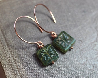 Picasso Czech Glass Earrings Rustic Copper Hoop Green Earrings Rustic Jewelry