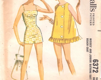McCalls 6372 1960s Misses Boy Leg Lined Swimsuit and Ruffled Button Front Beach Coat Pattern Womens Vintage Sewing Pattern Size  12 Bust 32