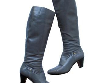 FERRAGAMO GREY LEATHER tall boots