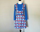 Vintage 1970s Dress in Bright Blue and Orange Flower Check by Cassee, Vintage Junior Size 13