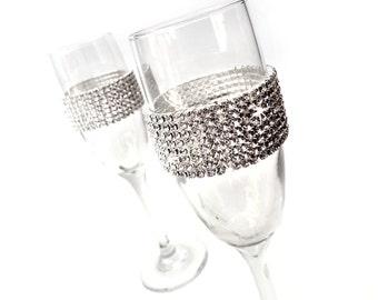 Rhinestone Toasting Flutes -  Set of 2 - Crystal Wedding Flutes - Rhinestone Encrusted Silver Champagne Flutes