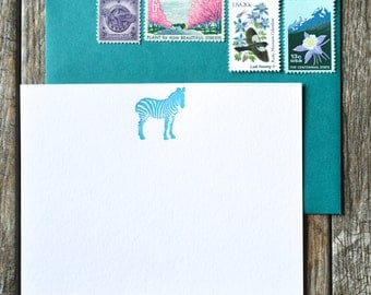 Zebra letterpress cards, set of 12 flat cards and envelopes