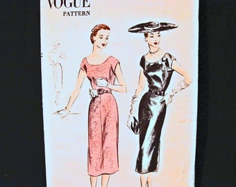1950s Dress Pattern Vogue Misses size 14 Womens Wiggle Dress Low Round Neckline Cap Sleeve Vintage Sewing Pattern 50s